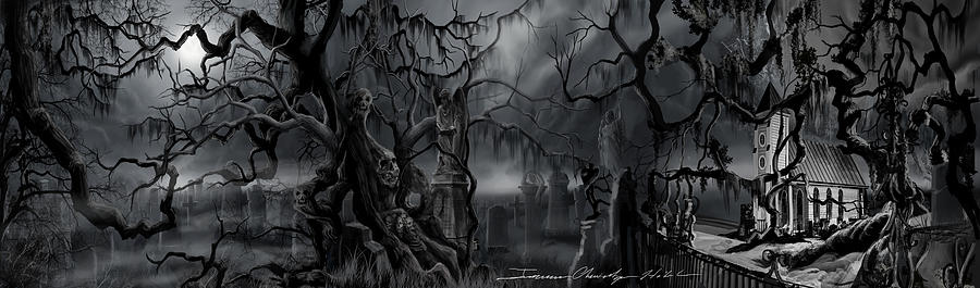 Skulls Painting - Darkness Has Crept in the Midnight Hour by James Christopher Hill