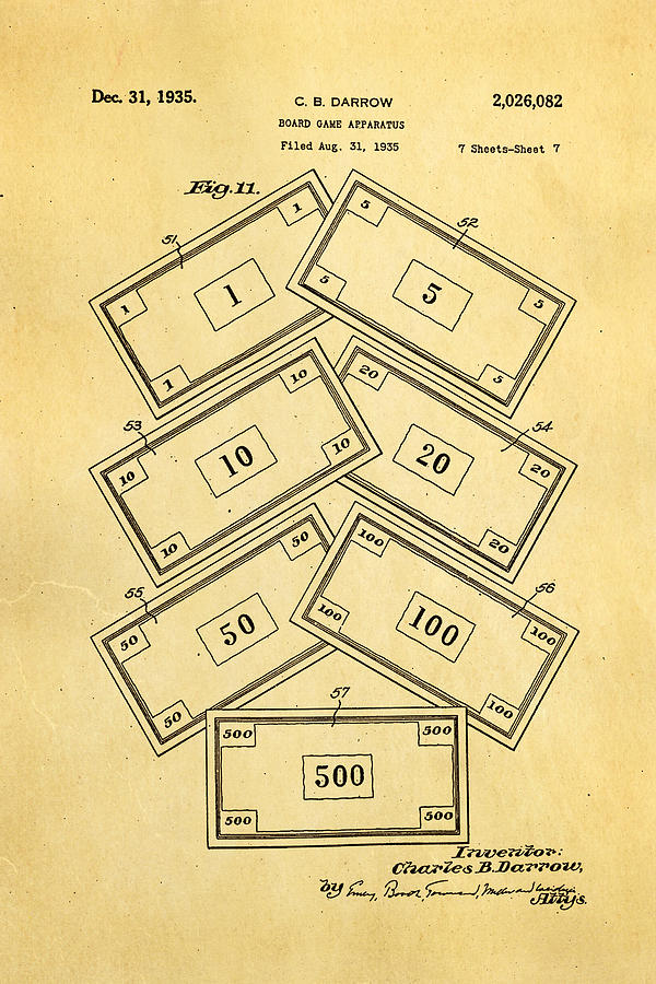 Famous Photograph - Darrow Monopoly Board Game 2 Patent Art 1935 by Ian Monk