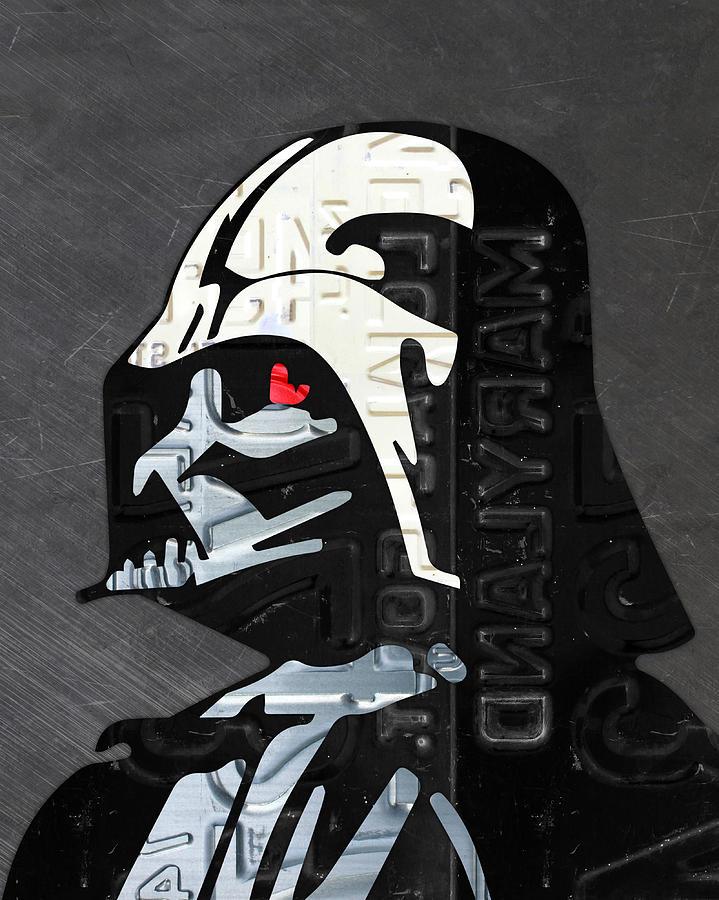 Darth Vader Mixed Media   Darth Vader Helmet Star Wars Portrait Recycled License  Plate Art By