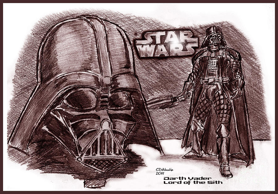 Drawing - Darth Vader Lord Of The Sith by Chris  DelVecchio