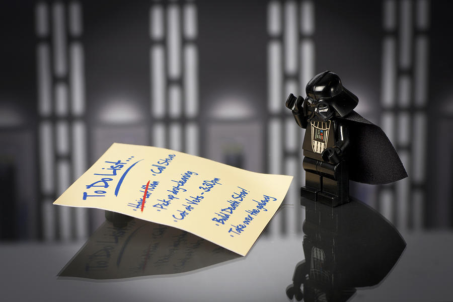 Lego Photograph - Darths To Do List by Samuel Whitton