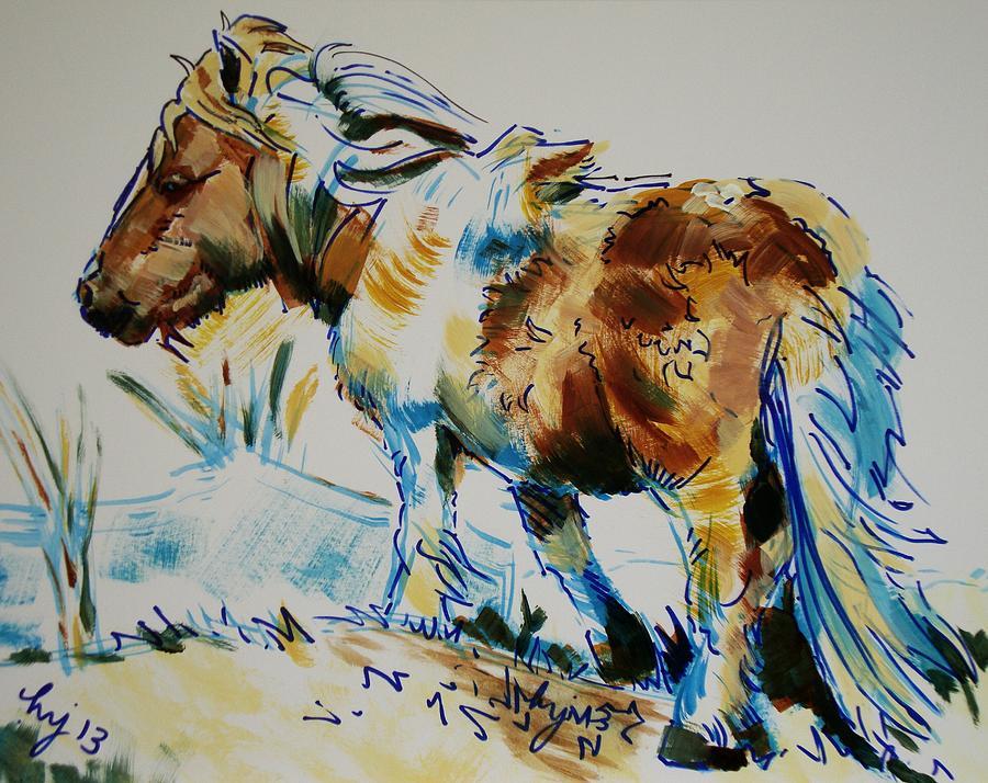 Dartmoor Painting - Dartmoor Pony by Mike Jory