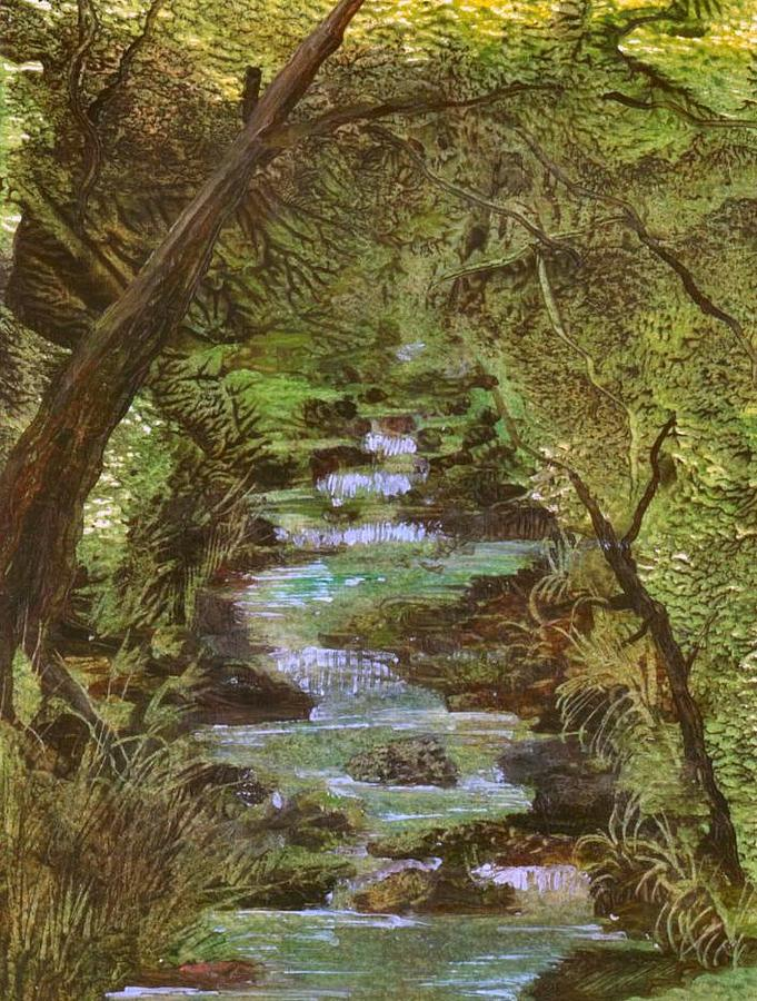 Green Painting - Dartmoor River by Carol Rowland