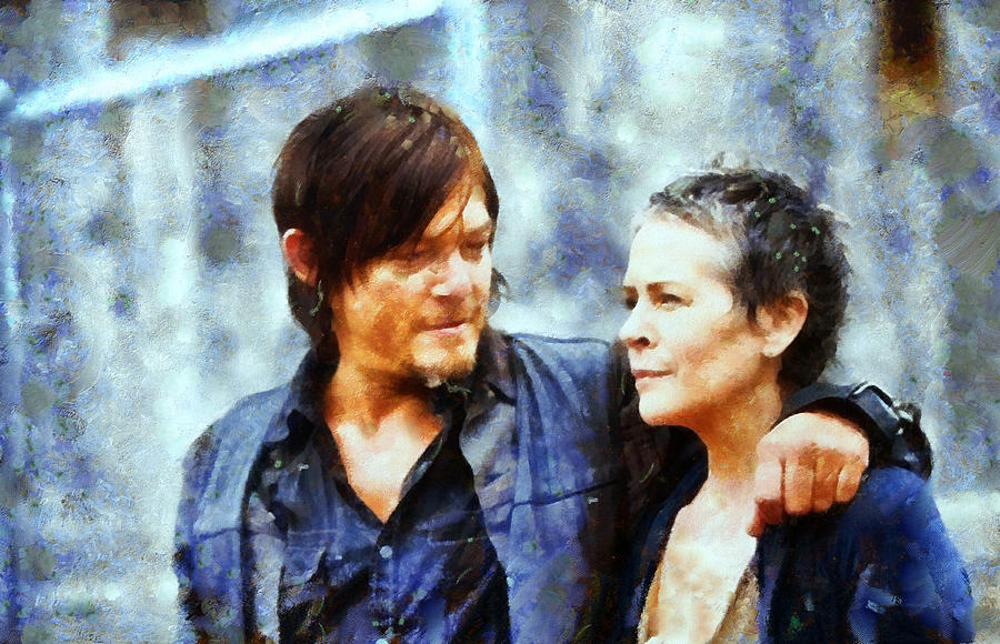 The Walking Dead Painting - Daryl And Carol  by Janice MacLellan