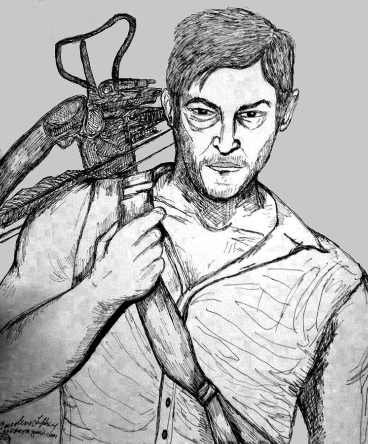 Portrait Drawing - Daryl Dixon by Caroline Lifshey
