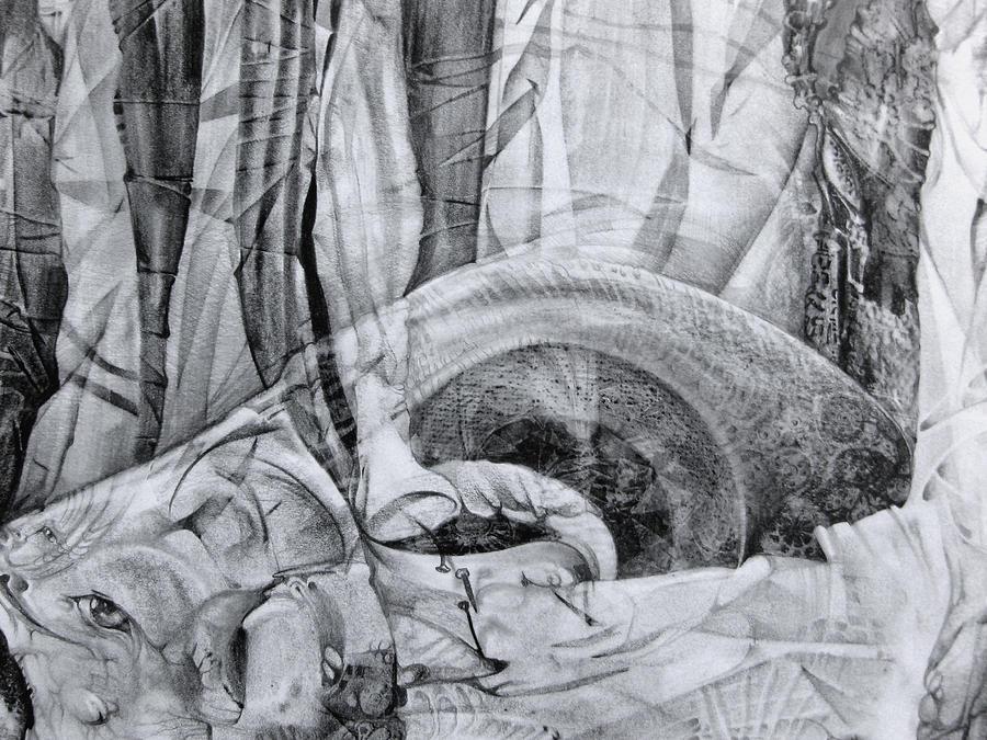 Surrealism Drawing - Das Monster Hat Sich Im Ungebuegelten Hintergrund Versteckt by Otto Rapp