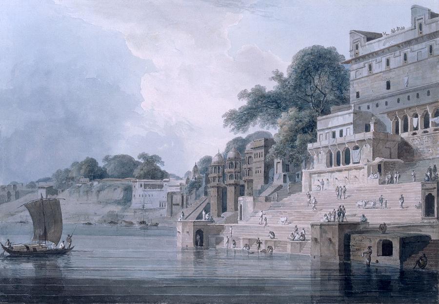 Benares Drawing - Dasasvamedha Ghat, Benares, Uttar by Thomas & William Daniell