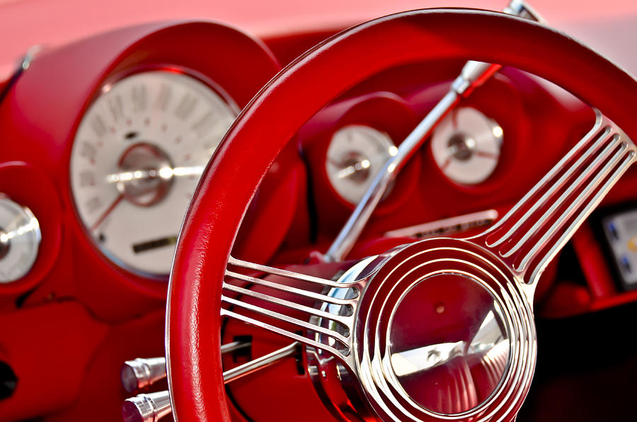Dashboard Red Classic Car Photograph By Carolyn Marshall
