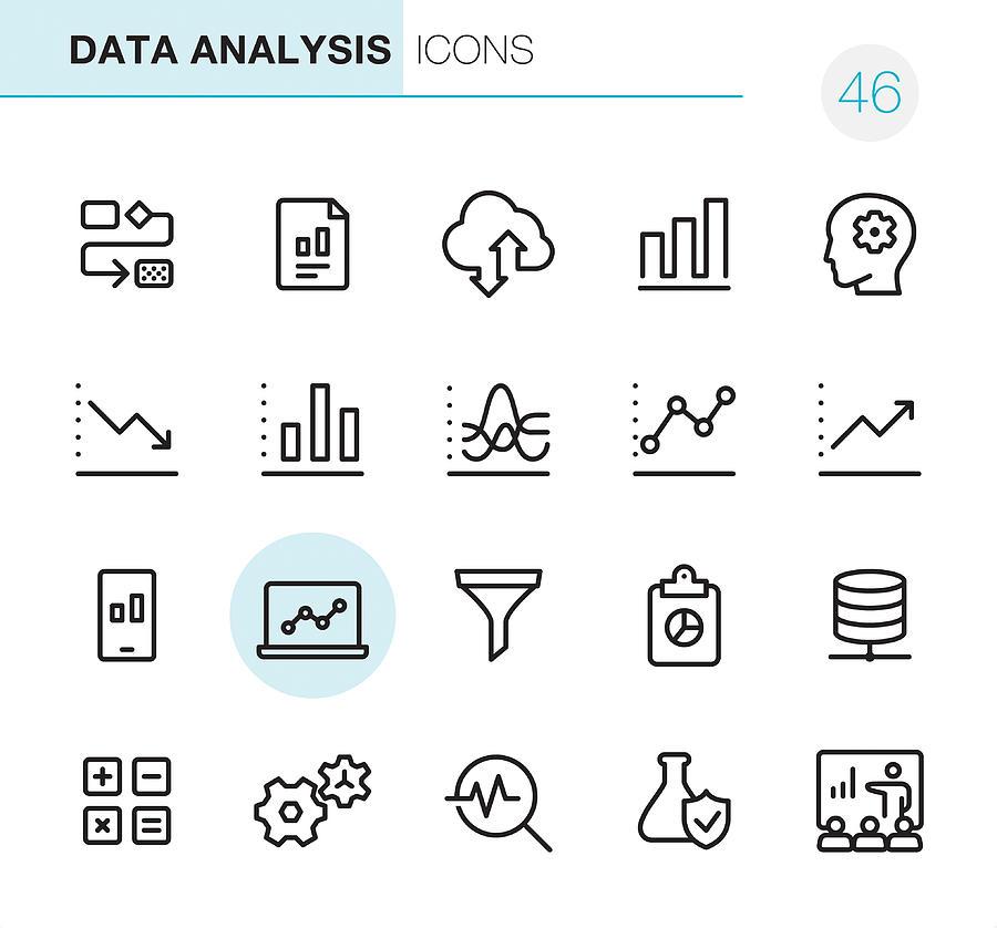Data Analysis - Pixel Perfect icons Drawing by Lushik