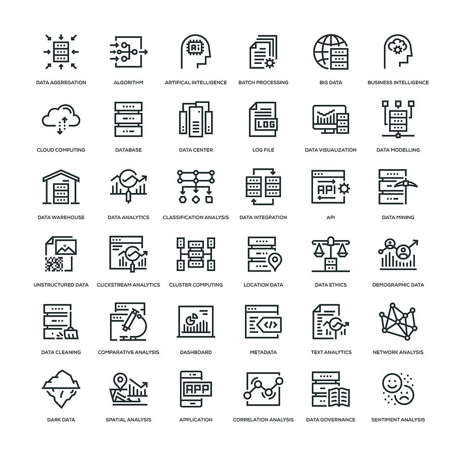 Data Analytics Icon Set Drawing by Enis Aksoy