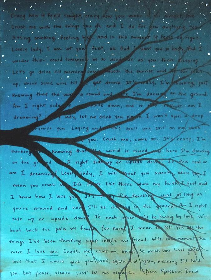 Lyric dave matthews lyrics : Dave Matthews Band Crush Lyric Art - Blue Painting by Michelle ...