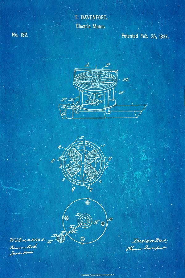 Davenport Electric Motor Patent 1837 Blueprint Photograph by Ian Monk