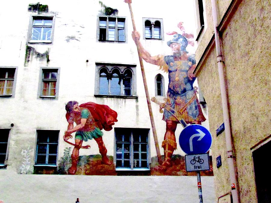david and goliath regensburg germany photograph by elaine weiss. Black Bedroom Furniture Sets. Home Design Ideas