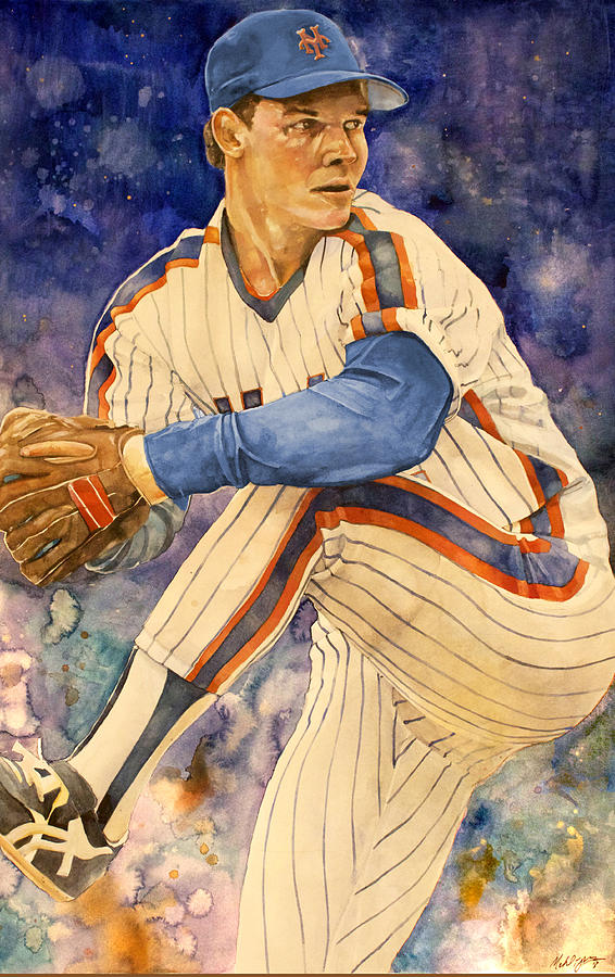 New York Mets Painting - David Cone by Michael  Pattison