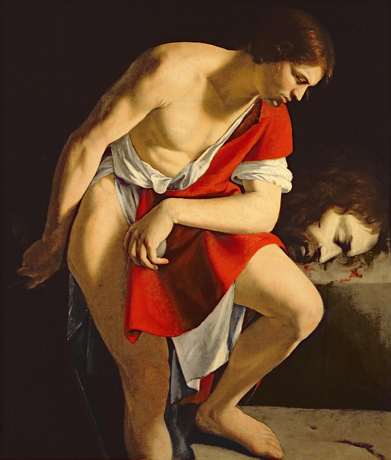 Male Painting - David Contemplating The Head Of Goliath by Orazio Gentileschi