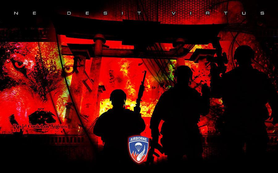 David Cook Los Angeles 187th Regiment Rakkasan Ne Desit Virtus Artwork Digital Art by David Cook Los Angeles