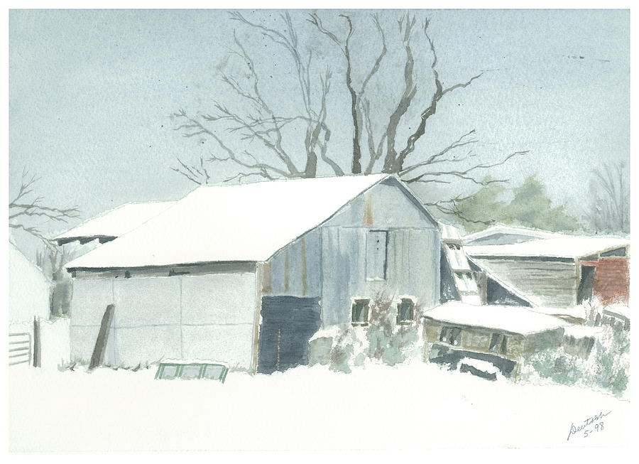 Winter Painting - David Hoyles Shed by Joel Deutsch