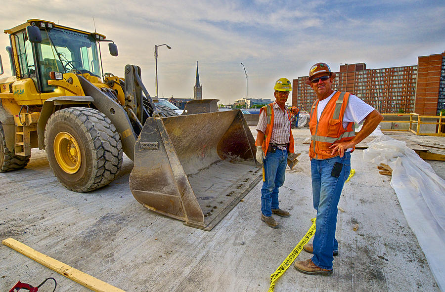 Carpenters Photograph - David Mabe And Russ Soldner On The Ohio River Bridges Project In Louisville Ky by Nick Roberts