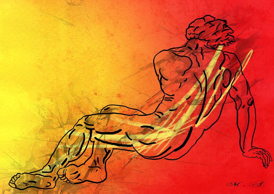 Male Nude Digital Art - David by Mark Ashkenazi