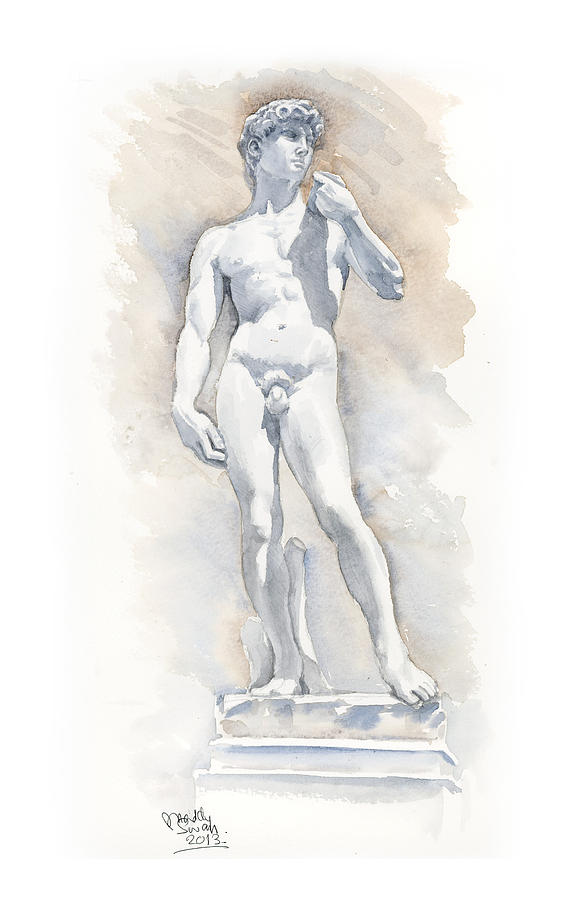 Watercolour Painting - David Sculpture By Michelangelo by Maddy Swan