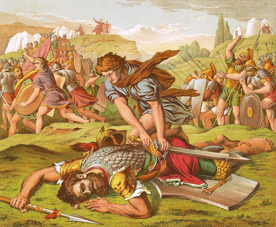 Bible Painting - David Slaying The Giant Goliath by English School