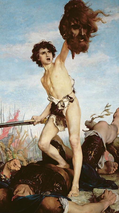Old Testament Painting - David Victorious Over Goliath by Gabriel Joseph Marie Augustin Ferrier