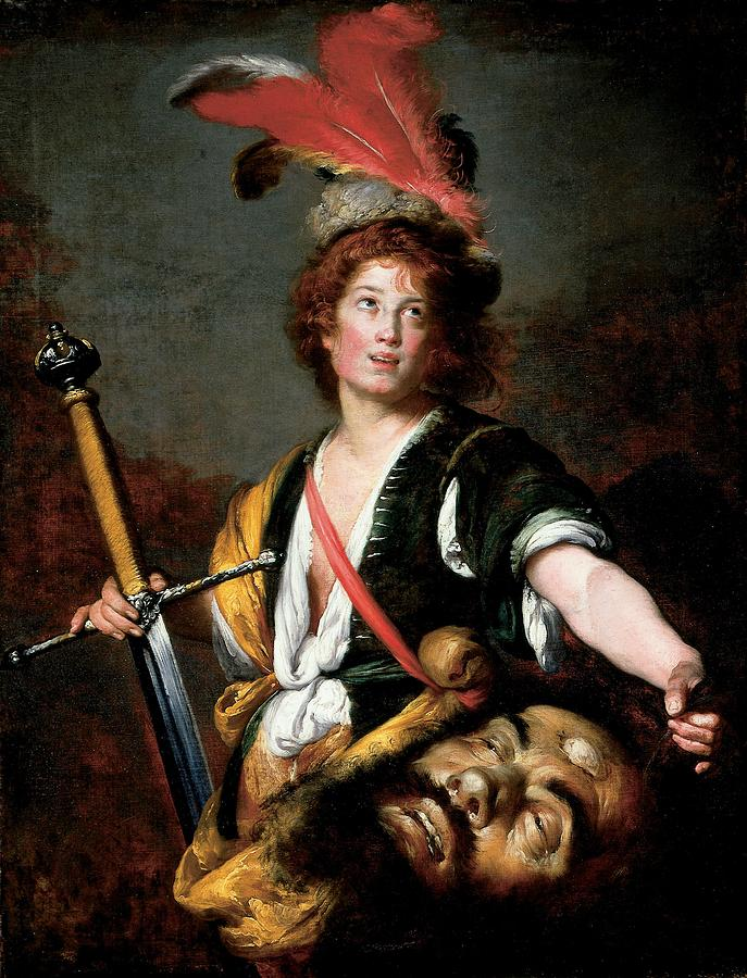 Male Photograph - David With The Head Of Goliath, C.1636 Oil On Canvas by Bernardo Strozzi