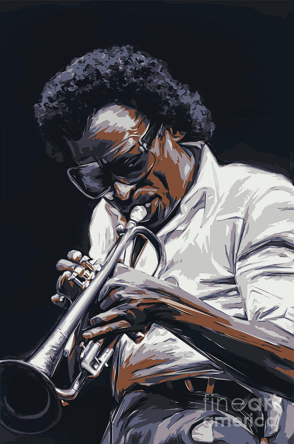 Trumpet Painting - Davis by Andrzej Szczerski
