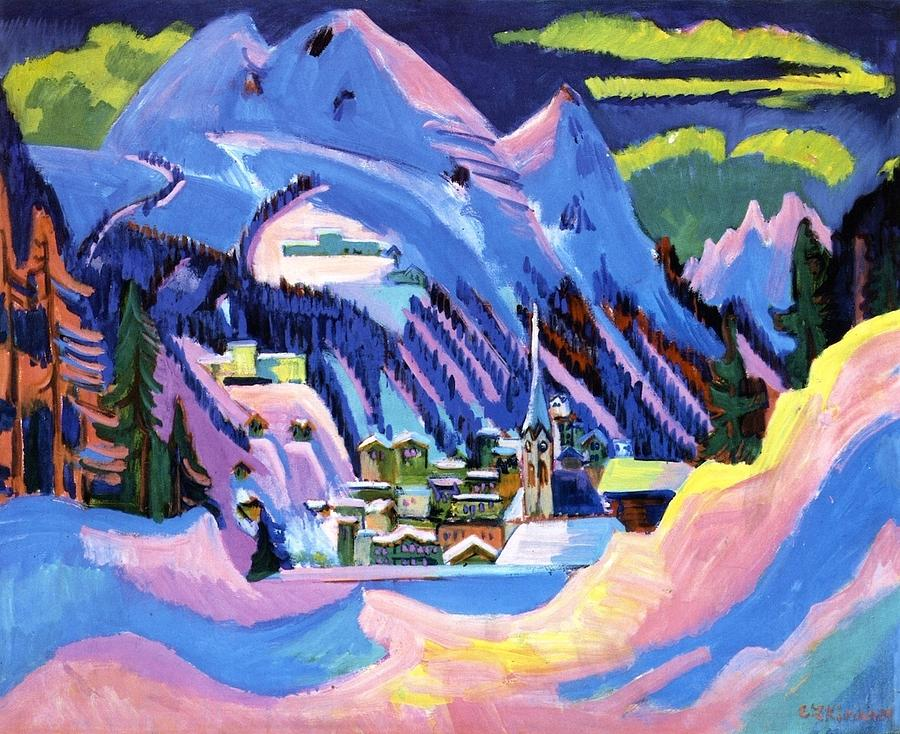 Davos In Snow Painting by Ernst Ludwig Kirchner