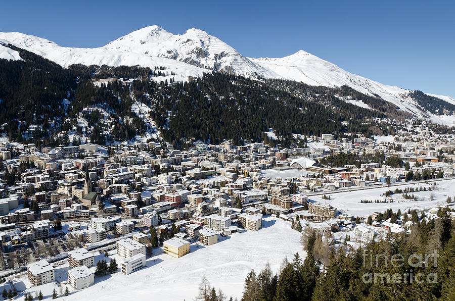 Davos Photograph - Davos Platz Mountains Parsenn And Town by Andy Smy
