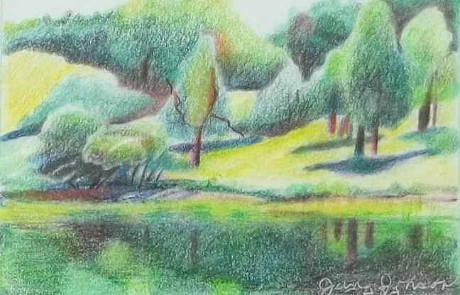 Trees Drawing - Dawes Aboretum by Jane Johnson