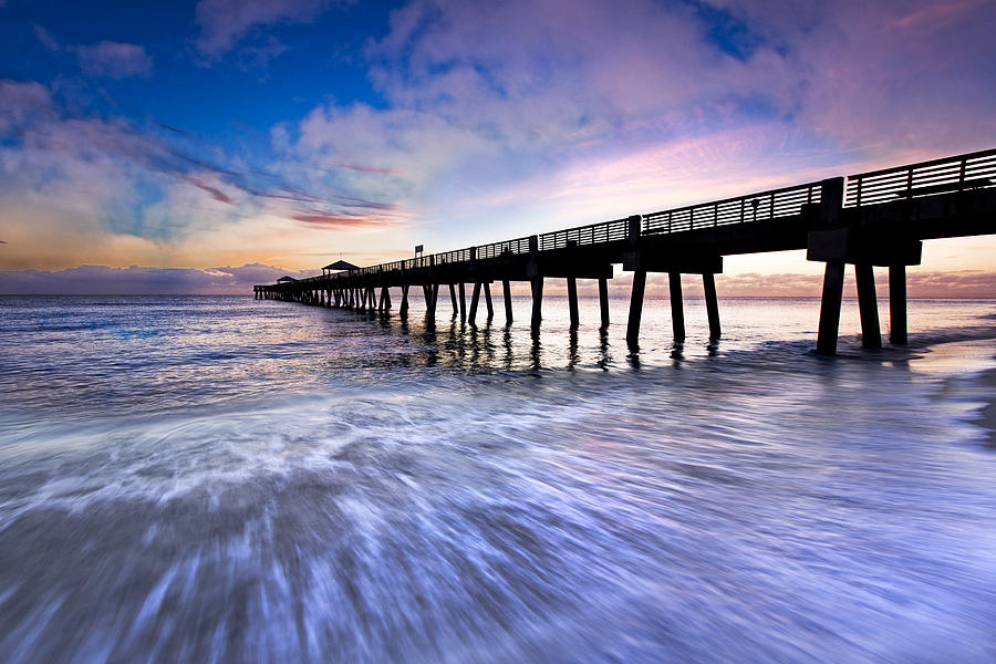Clouds Photograph - Dawn At The Juno Beach Pier by Debra and Dave Vanderlaan