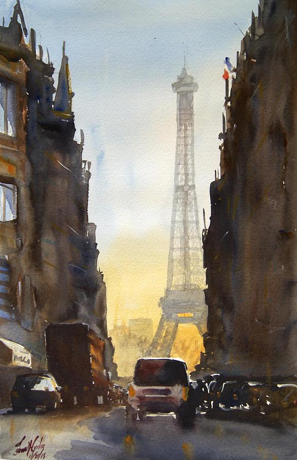 Paris Painting - Dawn in Paris by James Nyika