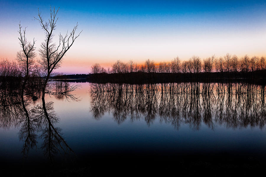 April Photograph - Dawn In The Flood by David Wynia