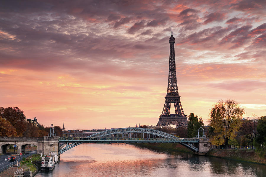 Dawn Over Eiffel Tower And Seine Photograph by Matteo Colombo