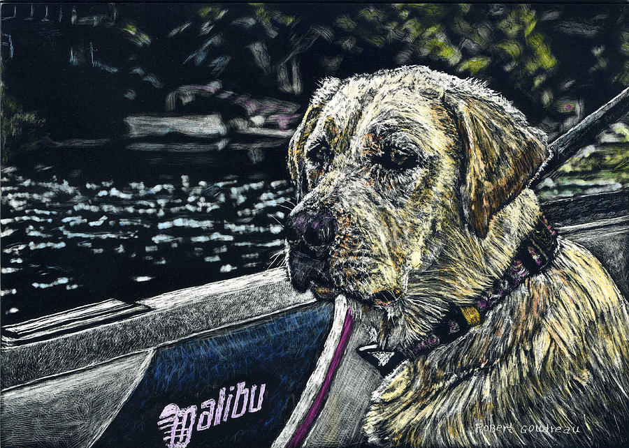 Yellow Lab Painting - Dawson At The Lake by Robert Goudreau