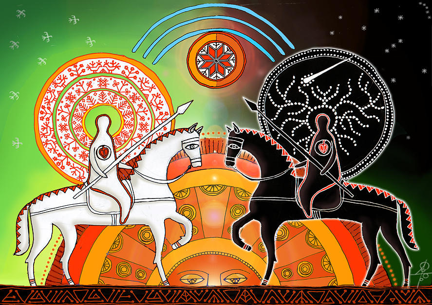 Slavic Mythology Digital Art - Day and Night by Maxim Sukharev
