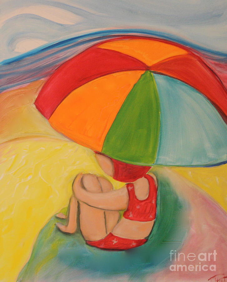 Landscape Painting - Day At The Beach by Teresa Hutto