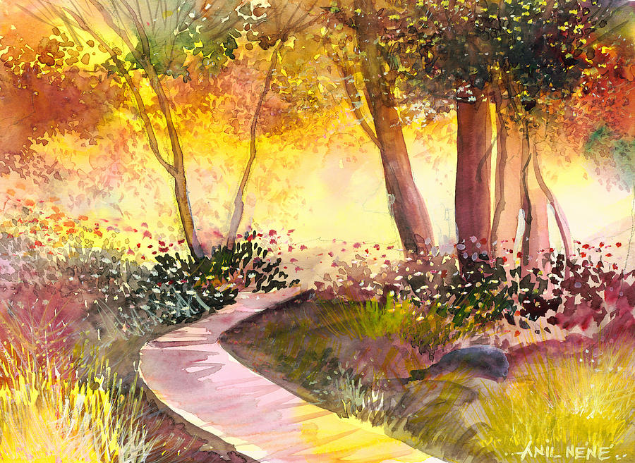 Gold Painting - Day Break by Anil Nene