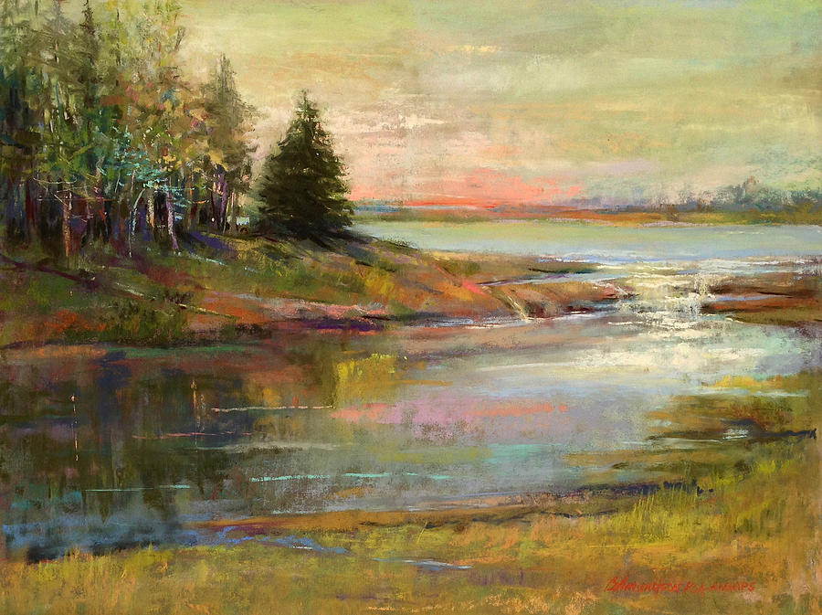 Lake Pastel - Day Ending by Beverly Amundson
