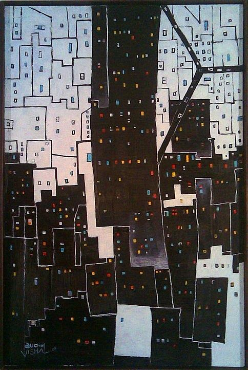 Cityscape Painting - Day N Night by Auckel Vishal