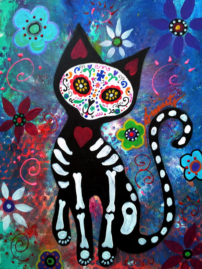 Dod Painting - Day Of The Dead Cat by Pristine Cartera Turkus
