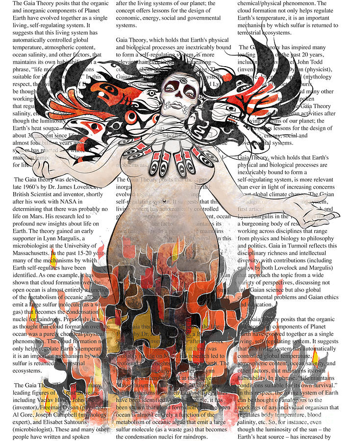 Gaia Digital Art - Day Of The Dead Gaia In Flames With Text Illustration Print by Sassan Filsoof