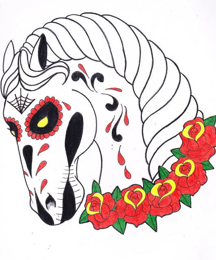 Day Of The Dead Horse Drawing By Mandy Jane