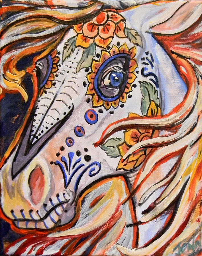 Horse Painting - Day Of The Dead Horse by Jenn Cunningham