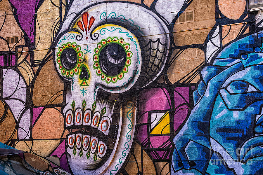 Day of the dead mural mixed media by terry rowe for Dia de los muertos mural