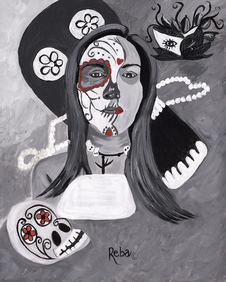 Rare And Different Day Of The Dead Abstract Painting - Day Of The Dead by Reba Baptist