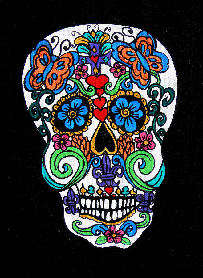 Skull Painting - Day Of The Dead Skull by Genevieve Esson