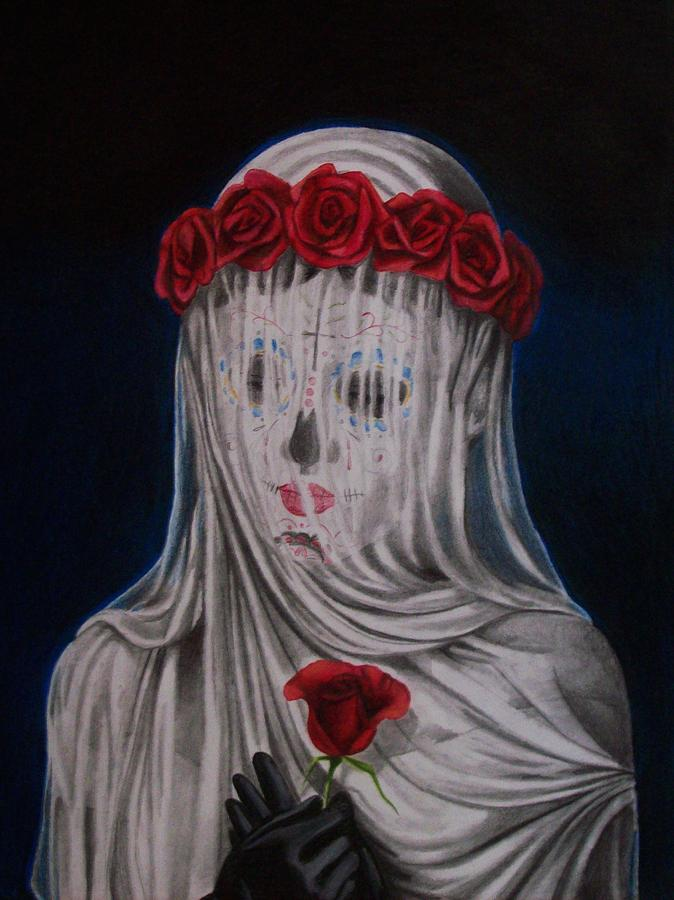Day Of The Dead Drawing - Day Of The Dead Veiled Bride by Amber Stanford