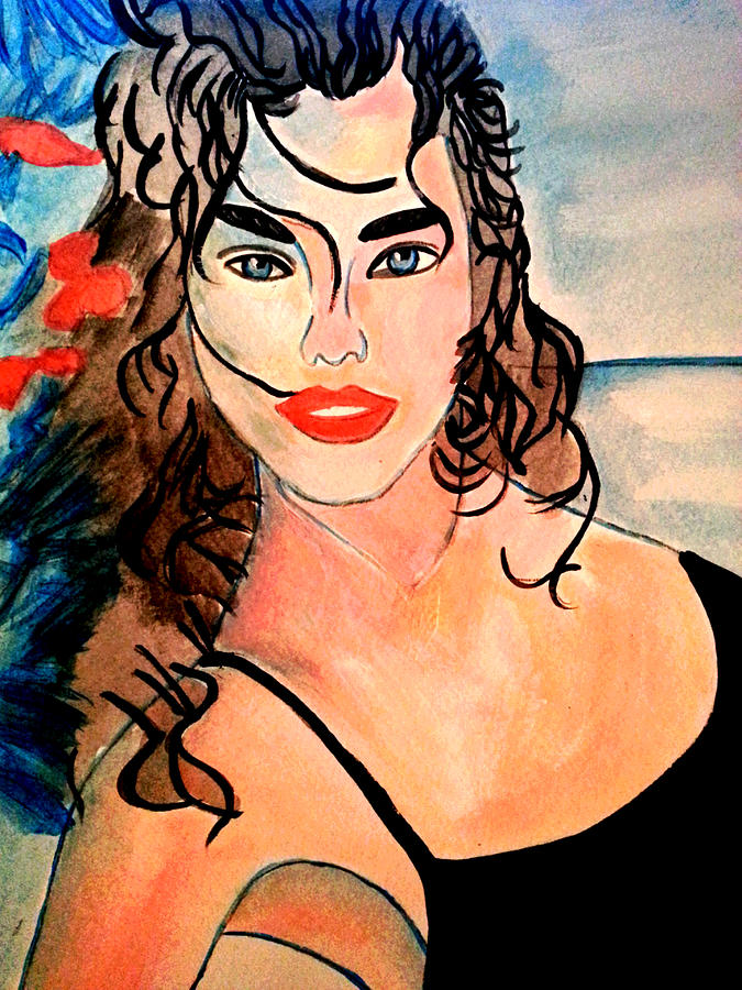 Portrait Painting - Day On The Beach by Nikki Dalton